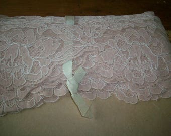 French vintage light tea with milk color outlined with white thread alencon lace pure cotton lace lovely design