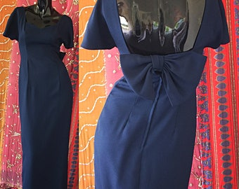 House Of Bianchi Dress 70s Couture Party Evening Gown Vintage 70s Bow Gown