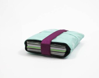 Turquoise Card Holder, recycled card case, small pouch, wallet, minimal wallet, vegan purse, gift for her, gift for him, eco friendly wallet