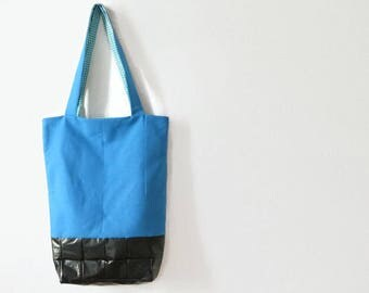 Blue tote bag with black bottom, Shopping Bag, School Bag, Shoulder Bag, eco friendly tote bag, gift for her, vegan,