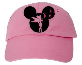 Disney Breast Cancer Awareness Hat/Mickey, Tinkerbell Glitter Pink Ribbon Breast Cancer Hat/Disney Cancer Awareness Mickey Baseball Cap
