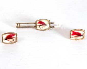 Anson fly fishing cufflinks & tie clip