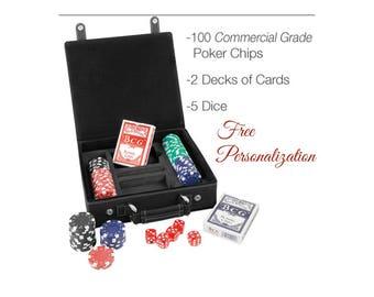 Personalized Poker Game Gift Set Groomsmen Gift Poker Player Custom Poker Card Storage Engraved Travel Poker Gift Case Poker Chips Cards