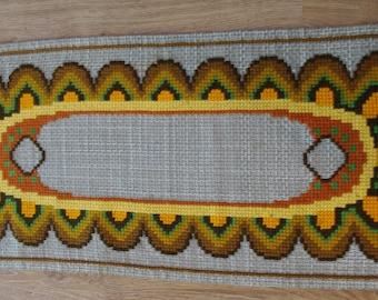 Polish Wool Table runner Hand embroidery Woven Serape Table Polish Tapestry Folk topper hand embroidered flower rustic home Brown Beige Boho