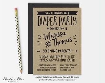 Diaper Party Invitation / Rustic Kraft Paper Couples Baby Shower Invitation / Alternative Couples Shower Invitation, Printable DIGITAL FILE