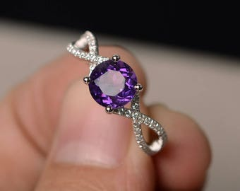 natural amethyst rings promise rings round cut purple gemstone ring solid silver ring wedding gifts - Purple Wedding Ring