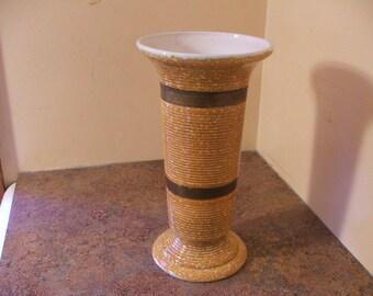 Vintage 1960s Hull Pottery #102 Tall Striped Vase