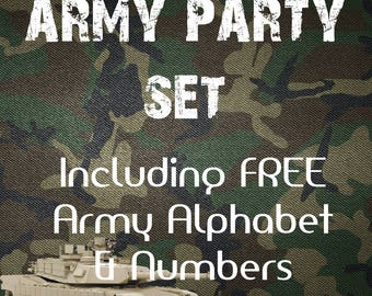 Army Party Set - Instant Download - Printable Military Party Set - Boy Party Set