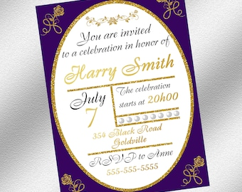 Purple and Gold Invitation, Instant Download, Printable Invitation, Elegant Invitation, Purple and Gold Party Decoration