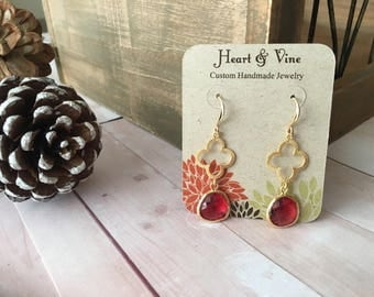 CLOVER and gold earrings