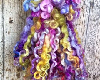 Wensleydale Wool Locks, Separated, Spinning Fiber, Multicoloured, 1oz, Tailspinning, Weaving, Felting, ilovepinkgeraniums