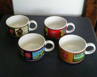 Ceramic Soup Mugs, Nabisco Soup Mug Set, Vintage Soup Mugs, Nabisco Crackers, Collectible Soup Mugs, Small Soup Bowls, Collectible Nabisco