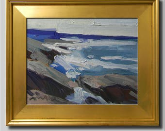 Waves Painting, Plein Air Landscape Painting, Impressionist Oil Painting, Seascape, Water Painting, Blue Painting, Abstract Beach