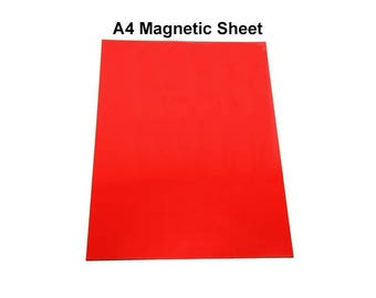 Flexible A4 Magnetic Sheet - Self Adhesive Red Rubber Magnet - hs136