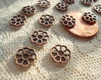 26 Antique Copper Small Retro Flower Connectors.  9mm x1.5mm   8 Open Petals.  Solid Cast Quality. Hang Centered.   ~USPS Ship Rates/Oregon