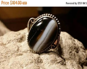 Holiday SALE 85 % OFF Size 7.5 Agate Ring . 925 Sterling  Silver Tribal Ethnic