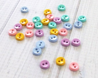 Tiny Buttons, Pastel Colors, 36 pieces - Round Buttons, Assorted Small Buttons, Craft Buttons, Mini Buttons