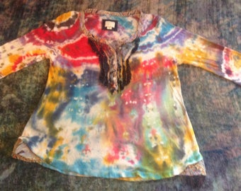 Women's Size XS Up-Cycled Tie Dye T-Shirt,long sleeves