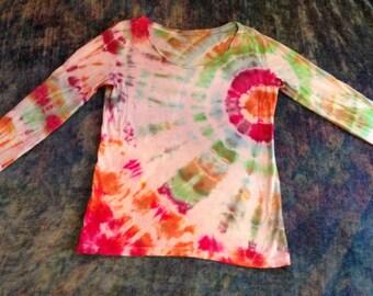 Women's Medium Tie Dye up- Cycled Long Sleeve T-Shirt