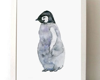 Baby penguin Art - penguin watercolor painting - art print - Nursery penguin Art - nursery painting -  baby animal - penguin print
