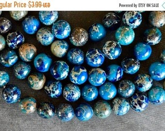 15% off SALE 10mm Regalite Aqua Terra Jasper Round Beads (10 beads) Turquoise, Blue Stone Beads Gemstone Bead, Impression Jasper 10mm Blue G