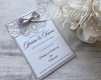 Silver Glitter White Lace Invitation, Wedding Invitation, Luxury Wedding Invitation, Silver and white Wedding Invitation, Glitter Invite