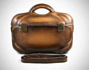 Parisienne leather bag,satchel,handmade,handcrafted,hard,antique,unique,shoulder,cross body,brown,original,handle,strap,dark,italian,moulded