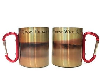 FLASH SALE Valentines Day Gift Men Good Thing Happen To Those Who Bait Carabiner Coffee Mug / Hiking Mug Gift for Fishermen /Gift for Dad /