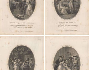 Winters Tale Shakespeare Vintage Print 1787 Original William Shakespeare Gift Ideas Home Decor Wall Art
