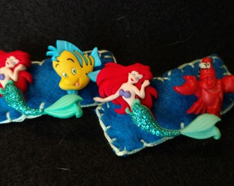 Little Mermaid Non-Slip Felt Hair Clips - Barrettes - Hair Accessories