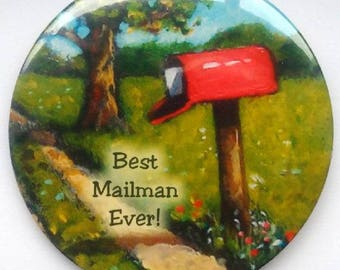 "Magnet Mailman, 3.5"", Thank you Gift, Best Mailman Ever, Painting of Red Country Mailbox, Original Art, Big Fridge Magnet"