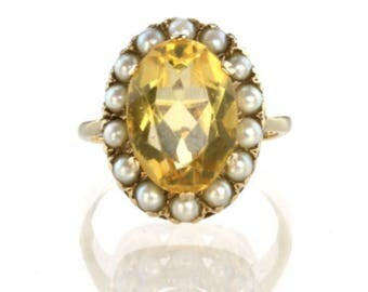 A Citrine and Pearl Ring