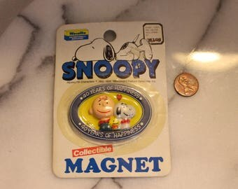 Vintage oval Snoopy Refrigerator Magnet 40 Years Of Happiness 1965
