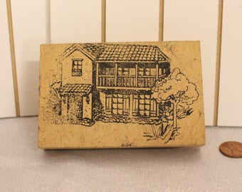 Vintage Cute Two Story House with a tree rubber Stamp Wood Stamp for Scrapbooking or Card Making Altered Art Home