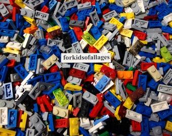 100 Lego 1x2 Stud Flat Plates Assorted Colors Bulk Lego Parts / Pieces Lot