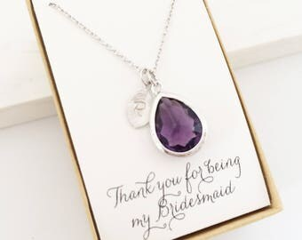 Amethyst Teardrop Initial Necklace, Personalized Necklace, Teardrop Necklace,Amethyst and Silver, Bridesmaid Jewelry Gift, Bride Groom Mom