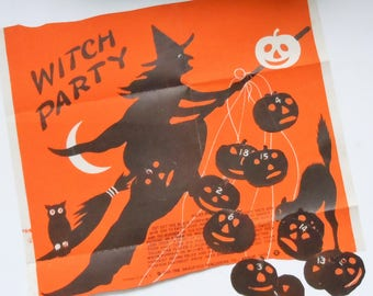 Witch Party Game / Antique Poster Game with Original pin on Pumpkins / Saalfield Publishing Co / 1913