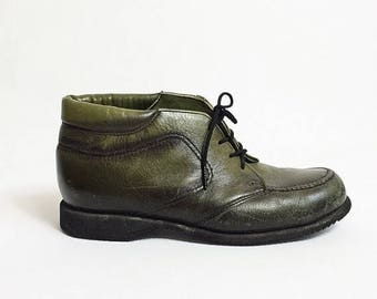 ON SALE 60s RED Wing Leather Boots Green Colored Boots Lace Up Ankle Booties Womens 8 size 8.5 38 39 Rare High Top Tie Boots uk 6.5 Moc Toe