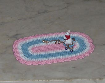 Nursery Rug for 1:12th Dollhouse.  Hand Made.  Crochet.  Scalloped Edge.