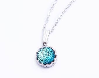 Flowing Blue Czech Glass Pendant Necklace 925 Sterling Silver Chain