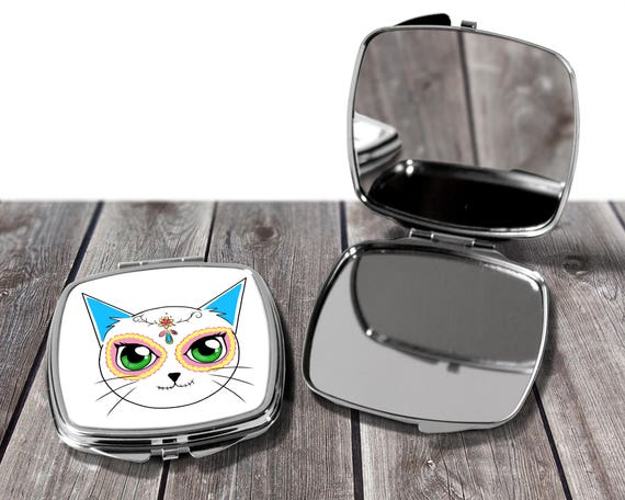 Day of the Dead Cat Mirror Compact