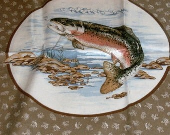 Fish/Fishing Print Cotton Quilt/Quilting Fabric Panels for Pillows~Set of 4 and Backing Fabric~Cranston VIP Print