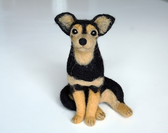 Chihuahua.Needle Felted Chihuahua.Black Chihuahua.Custom Made Dog.Pet Portrait.Soft Sculpture.Pet.Realistic felted animal.Made to order.