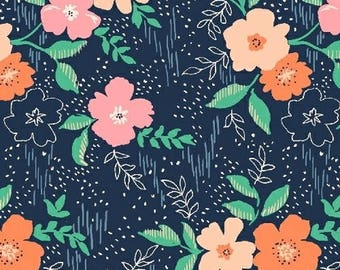 NEW!  Cotton Fabric by the Yard - Fat Quarter Bundle - Sweet Florals - Navy Floral Fat Quarter Bundle - Quilting Fabric - Navy Floral