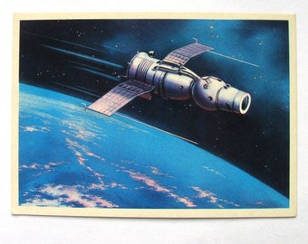 Space, Postcard with painting by Viktorov, Space, Souz 9, Earth, Unused, Unsigned, Soviet Vintage Postcard, USSR, 1971