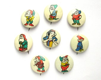 Snow White and Seven dwarfs, Set of 8 Badges, Cartoon character, Gnome, Vintage collectible badge, Pin, Soviet Union, Made in USSR, 1980s