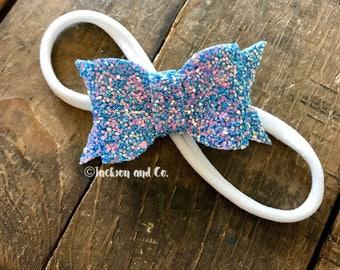 Blue Glitter Bow Headband, Blue Sparkle Bow Headband, Newborn, Toddler, Baby Headband, Bow Headband, Nylon Headband, Smash Cake Bow Headband