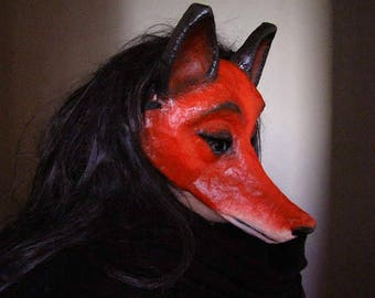 Fox mask Paper mache fox mask Animal mask  Fox head Fox costume Masquerade mask Scary mask Face mask Halloween mask