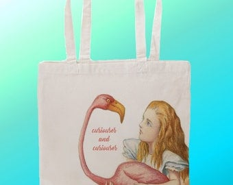 Alice in wonderland curiouser and curiouser- Reuseable Shopping Canvas Tote Bag