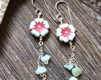 Flower bead earrings, dangle bead earrings, Czech glass earrings, Amazonite earrings